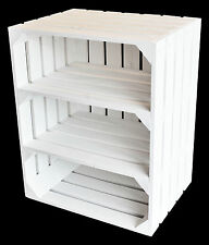 Shabby Chic Large White Wooden Crate Apple Box Storage With Two Shelfs