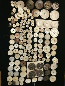 Lot Vintage Buttons. Shell, Mother of Pearl, Patterns & Carvings