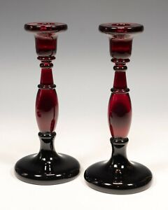 Rare - Pair of Fenton 549 Glass Candlesticks in Ruby & Black. Circa 1920's.