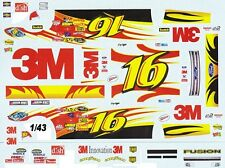 #16 Greg Biffle 3M Fusion Roush 1/43rd Scale Slot Car Decals