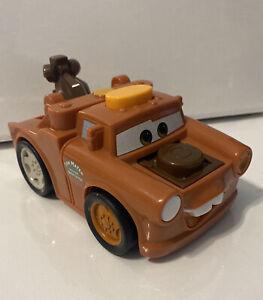 Disney Pixar CARS 2 Tow Mater TALKING FLASH LIGHT Tow Truck Wrecker PUSH TOY