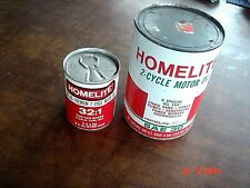 2 VINTAGE HOMELITE CHAIN SAW 2 CYCLE OIL LUBRICANT ADVERTISING 1 Qt CAN  AR