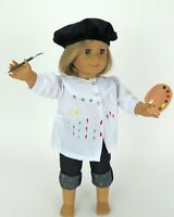 """Doll Clothes 18"""" Costume Painter Pants Smock Hat Fits American Girl Dolls"""