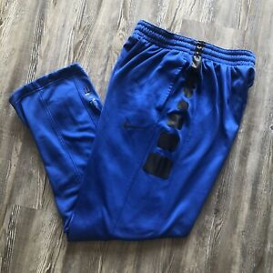 Nike Elite Stripe Basketball Pants Royal Blue Black 682999-480 Therma-Fit Size L