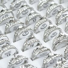2/10/20Pcs Wholesale Mixed Lots Jewelry Crystal Rhinestone Silver Plated Rings