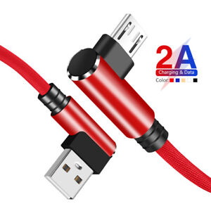 90°Elbow Micro USB Type C Data Cable For Samsung Android Huawei Charger Cord 5A