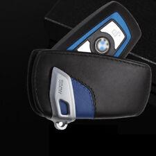 BMW Remote Key Leather Case Cover Bag Holder Car Logo Keyring Chain Black&Blue