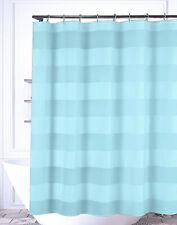 """AQUA BLUE Fabric Shower Curtain: Wide Stripe Design, 72"""" L"""