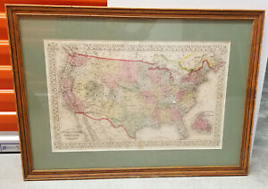 FRAMED ANTIQUE 1866 hand colored UNITED STATES MAP & TERRITORIES & CANADA ATLAS