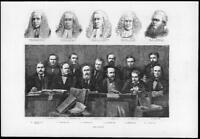 1874 - Antique Print TICHBORNE Jury Hawkins Mellor Cockburn Lush Kenealy  (149)
