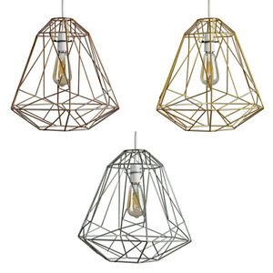 Large Metal Pendant Shades Geometric Industrial Design Lights Easy Fit Lighting