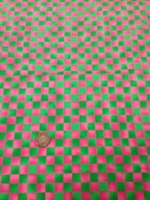 100% Acolchado de Algodón Manualidades Telas Rosa Fucsia Verde Cuadros Graphix