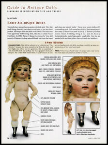 Antique All-Bisque dolls 2-page print article 1999 history