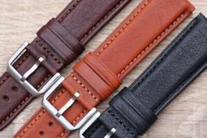 Watch Strap Genuine Calf Leather Quick Release Padded Semi-Remborded 18mm-24mm