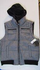 Men's Chambray Grey Vest with detachable hood