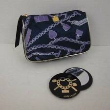 NEW Estee Lauder Cosmetic Make Up Pouch Matching Mirror Navy Purple Gold