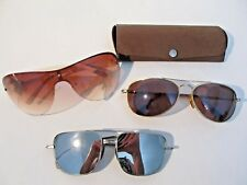 Lot of 3 Vintage Sunglasses Aviator Wire Rim Metal Plastic Frame Mirrored 1 Case