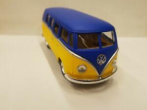 Volkswagen Classical Bus 1962 blue yellow kinsmart car model 1/32 scale diecast