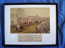 Antique Race Horse English Steeplechase Derby Engraved Print 1839 HUNT Framed