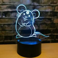 3D Mouse Night Light 7 Color Change LED Desk Lamp Touch Room Decor Gift