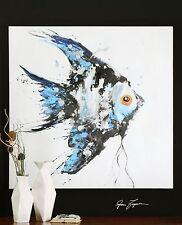 Large Blue Angel Fish Wall Art | Contemporary Modern Coastal Painting