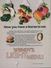 1985 Wendy's Vintage Print Ad Page Fast Food Advert Light Menu