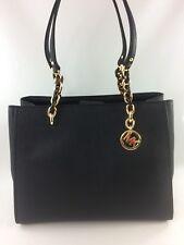 New Authentic Michael Kors Sofia Large Leather Tote Handbag Purse Black