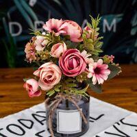 Faux Pivoine Artificielle Fleurs en Soie Bouquet de MariéE Hortensia DéCora J3H6