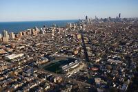 Chicago Illinois Skyline with Wrigley Field Photo Art Print Poster 18x12 inch