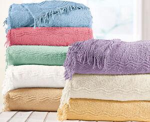 Luxury 100% Cotton Candlewick Geneva Design Classic Throwover Bedspread Blanket