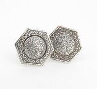 .Hexagon Shaped Sterling Silver Mayan Aztec Calendar Cufflinks Stamped 925