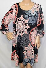 2B Together Women Size S Elegant Black Coral Gray Paisley Workn Dress Tunic Top