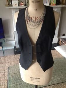 Sisley waistcoat - women's, black fitted, lined  44