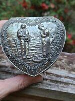 Vintage Valentine's Silver Tone Metal Heart Shaped Footed Trinket Box Japan