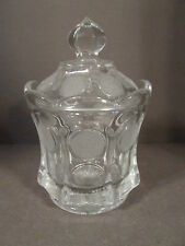 VINTAGE FOSTORIA COIN GLASS LIDDED CANDY JAR, EAGLE AND TORCH