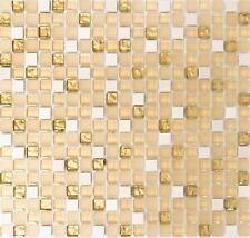 Mosaïque translucide cristal pierre verre blanc pâle or 92-1201_f | 10 plaques