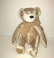 "Bath & Body works suede brown tan cream gingerbread teddy bear plush 8""-9"""