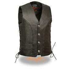 Milwaukee Leather Men's Naked Cowhide -Side Lace Vest W/ Buffalo Snaps - ML1369N