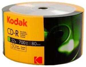 50 kodak Blank CD-R CDR 52X  Logo Branded 700MB 80MIN Media Disc
