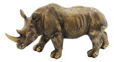 Rhinoceros Statue Resin Bronze Gold Colour Approx 18x30cm