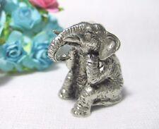 Miniature Pewter Elephant Figurine Sitting 2.5 CM Height Vintage Handmade *Mini