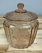 Vintage Mayfair Pink by Anchor Hocking Depression Glass Cookie Jar with Lid