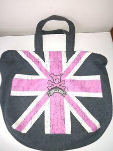 pink victoria secret Cotton Tote Bag British Flag gray