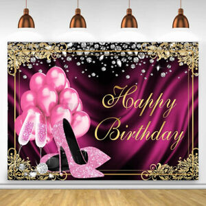 Glitter Pink Birthday Photography Backdrop Party Background Balloon Banner Decor
