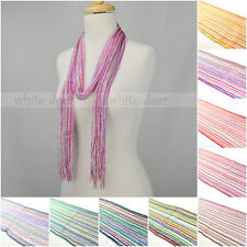 12 PCs Wholesale Women Crochet Bling Shine Thread Multi Color Knitted Scarf Belt
