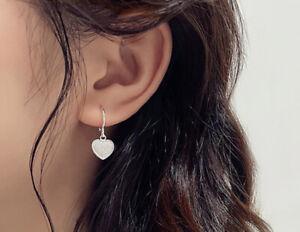 Matte Drop Heart Stud Earrings 925 Sterling Silver Womens Ladies Jewellery Gifts