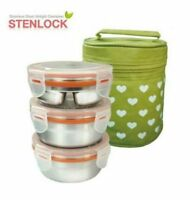 3 Sets Stainless Steel Container Food Storage Jar Airtight Thermal_NK