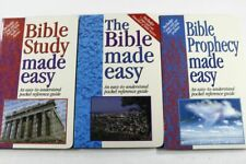LOT of 3 BIBLE STUDY MADE EASY also THE BIBLE & PROPHECY pocket reference books