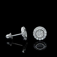 0.20Ct Created Diamond Cluster Pave Earrings 14k White Gold Studs Screw-Back