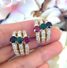 Emerald/Ruby/Sapphire and Diamond Half Hoop Earrings in 18k Yellow Gold --HM1515